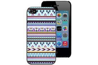 Blue and Purple Aztec Pattern Hard Printed Case for iPhone 4 4S
