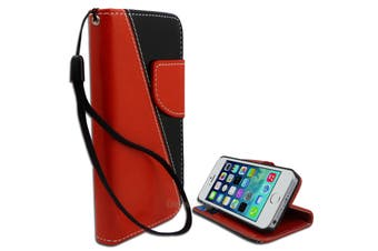 Black Red Diagonal Wallet Stand Case for Apple iPhone 5 5S SE