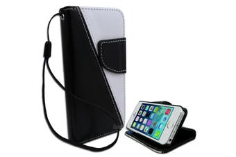 Black and White Diagonal Wallet PU Leather Stand Case for Apple iPhone 5 5S SE