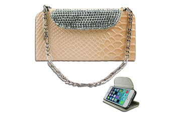 Luxury Cream Bling Faux Snake Leather Purse Cover for iPhone 5 5S SE