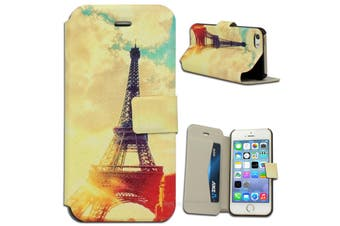 Eiffel Tower Wallet Stand Case for Apple iPhone 5 5S SE