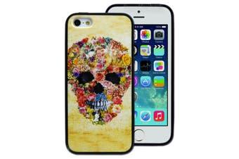 Flower Skull Printed Hard Back Case for Apple iPhone 5 5S SE
