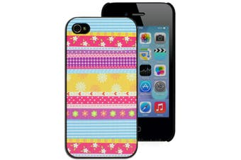 Striped Floral Print Hard Case for Apple iPhone 4 4S