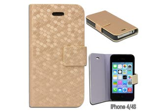 Gold coloured Diamond Pattern Wallet Cover Case for iPhone 4 4S