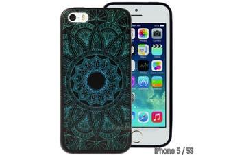 Green Black Mandala Printed Hard Back Case for Apple iPhone 5 5S SE