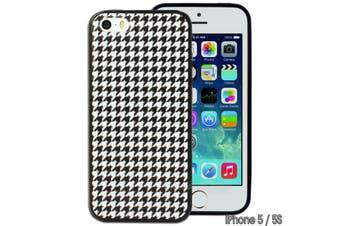 Black White Houndstooth Printed Hard Back Case for Apple iPhone 5 5S SE