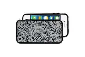 White Black Leopard Printed Hard Back Case for Apple iPhone 4 4S