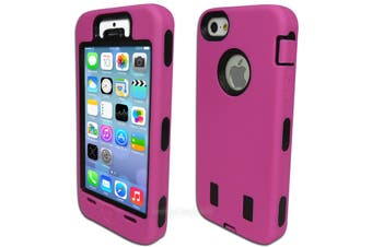 Dark Pink Three Piece Heavy Duty Hard Case for iPhone 5 5S SE (No Screen)