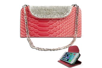 Luxury Pink Bling Faux Snake Leather Purse Cover for iPhone 5 5S SE