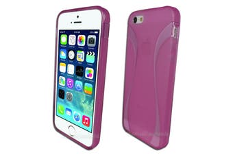 Pink Flexible Frosted Curved Gel Case for Apple iPhone 5 5S SE