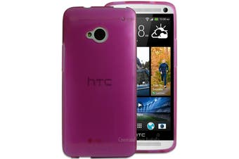 Pink Gloss Flexible Soft Case for HTC One M7 Silicone TPU Gel Cover Strong