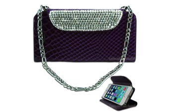 Luxury Purple Bling Faux Snake Leather Purse Cover for iPhone 5 5S SE