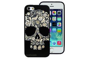 Black Flower Skull Printed Hard Back Cover for Apple iPhone 5 5S SE