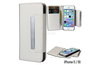 White Magnetic Faux Leather Detachable Wallet Case for iPhone 5 5S SE