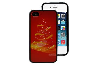 Decorative Red Gold Christmas Tree Hard Plastic iPhone 4 4S Case