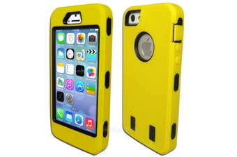 Yellow Three Piece Heavy Duty Hard Case for iPhone 5 5S SE