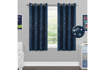 2x Full Blackout Star Curtains Kids Bedroom Blockout Curtains Eyelet Energy Saving Thick Curtains, 1 Pair, Twinkle Stars on Navy Blue