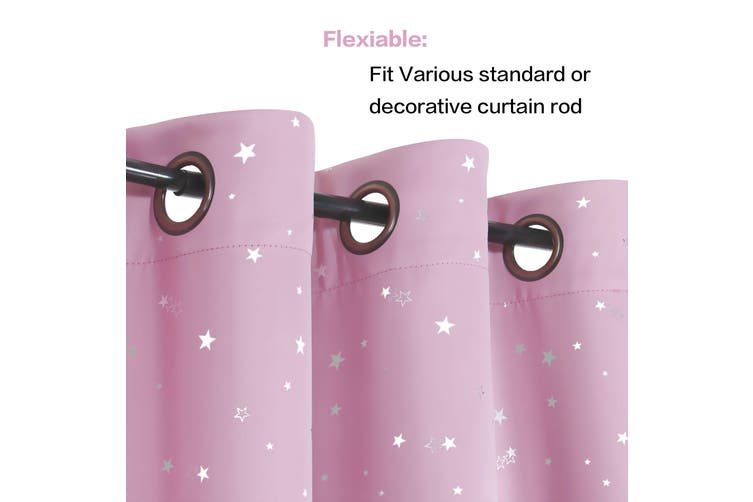 2x Blockout Curtains for Kids Room Eyelet Blackout Bedroom Curtains Draperies, 1 Pair, Glitter Twinkle Star Pattern, Pink