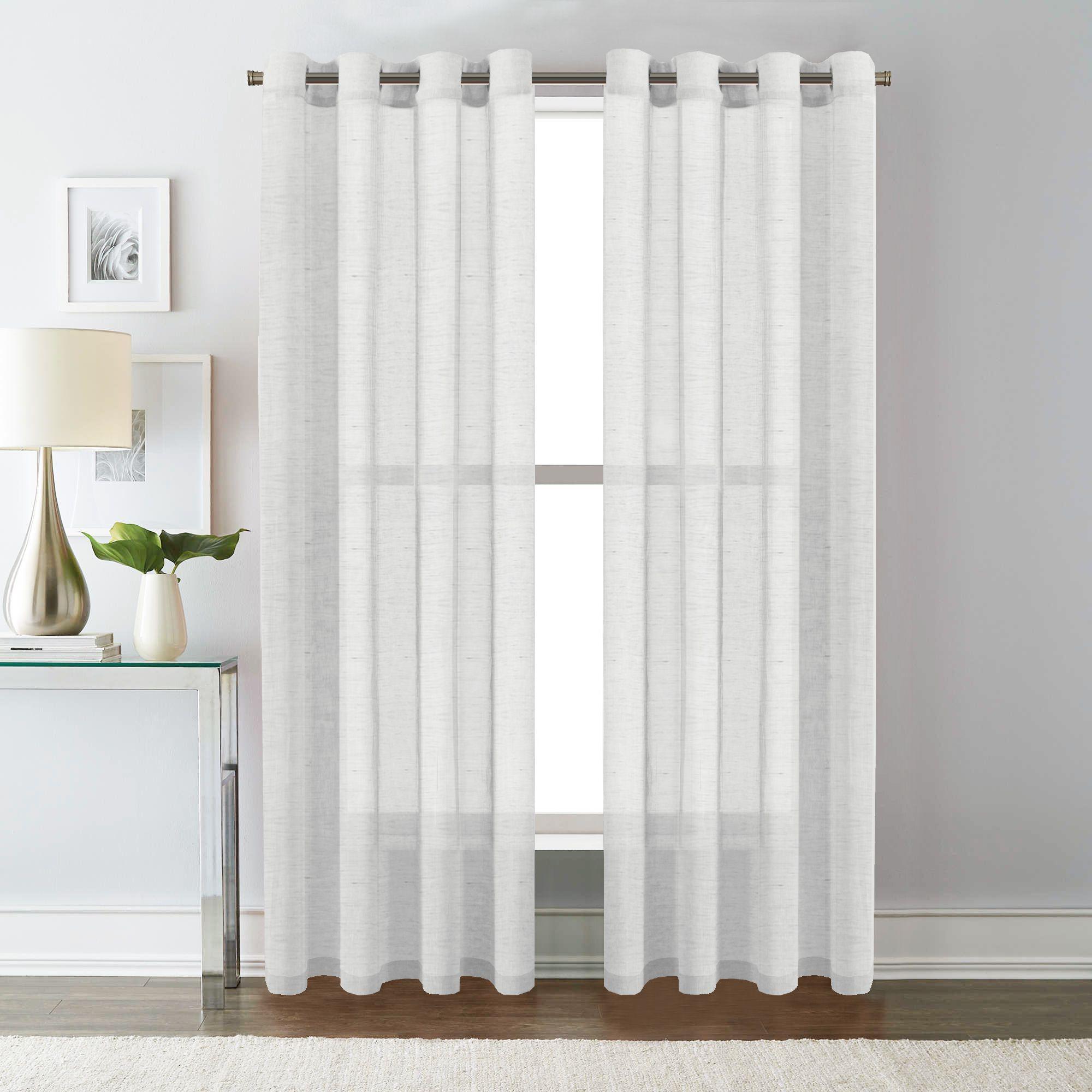Linen Sheer White Curtains Pair Living Room Sheer Linen Curtains Window Treatment Draperies Eyelet Indoor Curtains 2 Panels Solid White Matt Blatt