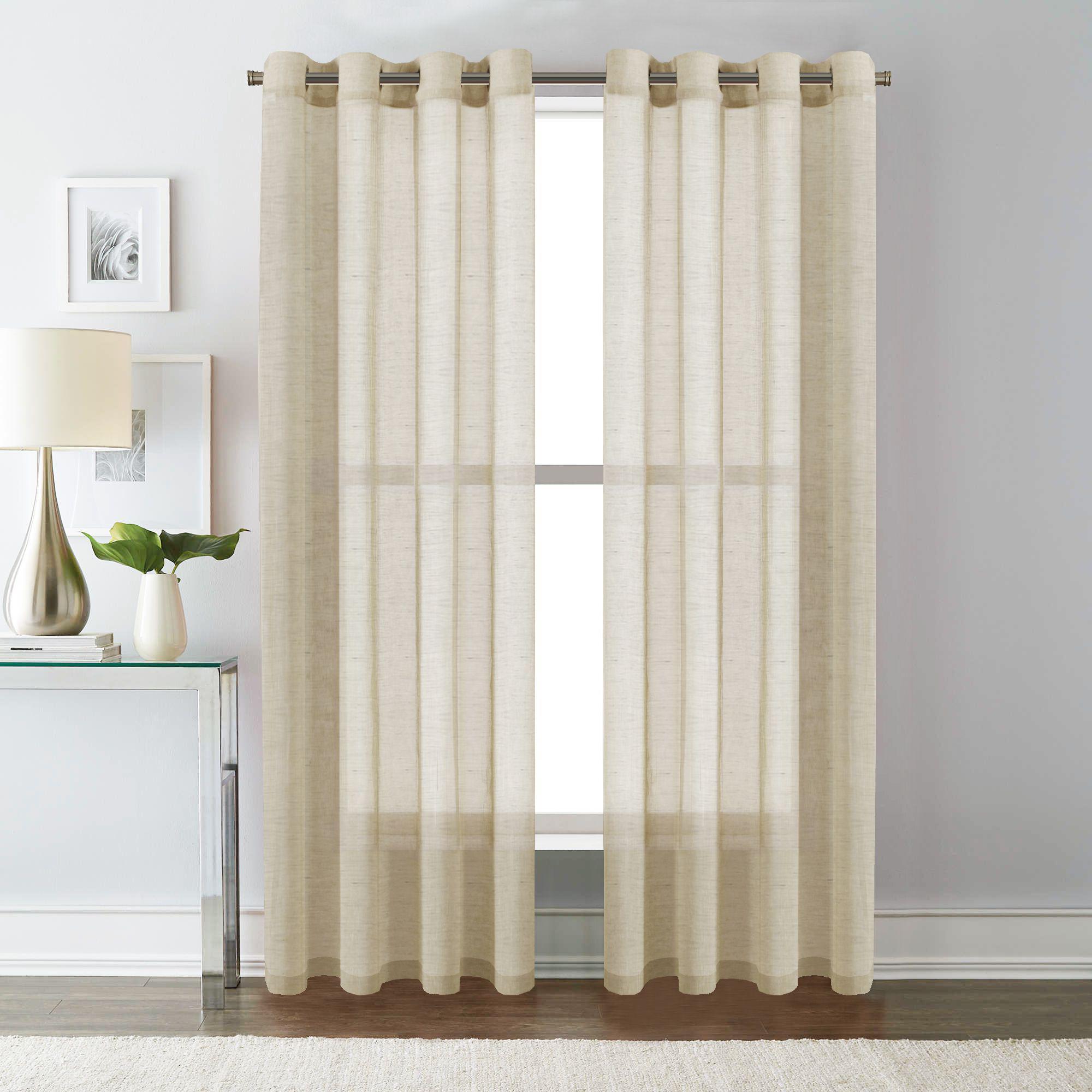 1 Pair Linen Sheer Curtains For Bedroom Living Room Light Filtering Window Curtain Draperies Natural Look Eyelet Top Beige Matt Blatt
