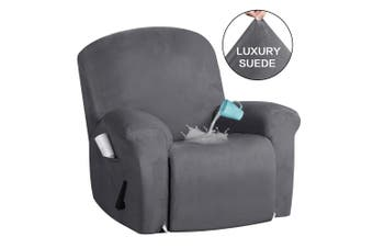 Soft Suede Velvet Recliner Cover Non Slip Stretch Recliner Chair Slip Cover Recliner Sofa Cover Machine Washable, Grey