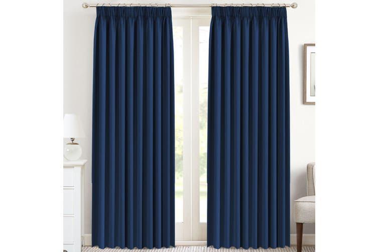 Navy Blackout Curtains For Bedroom Pencil Pleat Bonus Tie Backs Thermal Insulated Room Darkening Block Out Curtains For Living Room Set Of 2 Matt Blatt