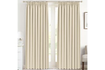 Curtain Drapes - Thermal Curtain Draperies with Tape Top for Room Darkening Decorative Plain Window Curtain Pieces, Beige
