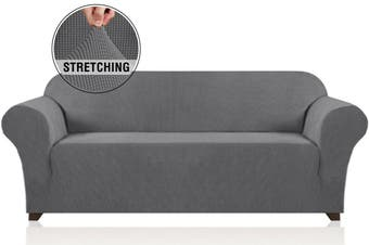 Stretch Sofa Slipcovers with Elastic Bottom and Anti-Slip Foams, 1 Piece Couch Shield Lounge Cover, 1/2/3/4 Seater Sofa Covers, Solid Grey