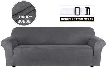 Water Repellent Sofa Covers Luxury Suede Couch Cover High Stretch Soft Slipcover Lounge Cover, 1/2/3/4 Seater, Grey