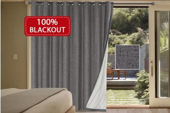100% Blackout Curtains Linen Look Double Wide Bedroom Curtains Thick Blockout Curtains Eyelet for Living Room/Patio Door, Grey
