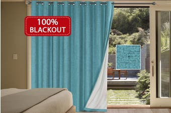 100% Blackout Curtains Linen Look Double Wide Bedroom Curtains Thick Blockout Curtains Eyelet for Living Room/Patio Door, Teal