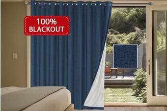 100% Blackout Curtains Linen Look Double Wide Bedroom Curtains Thick Blockout Curtains Eyelet for Living Room/Patio Door, Navy