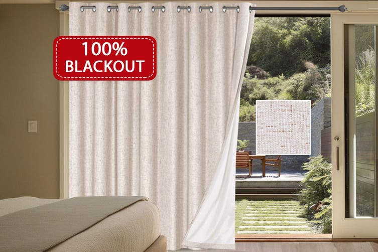 100% Blackout Curtains Linen Look Double Wide Bedroom Curtains Thick Blockout Curtains Eyelet for Living Room/Patio Door, NATURAL