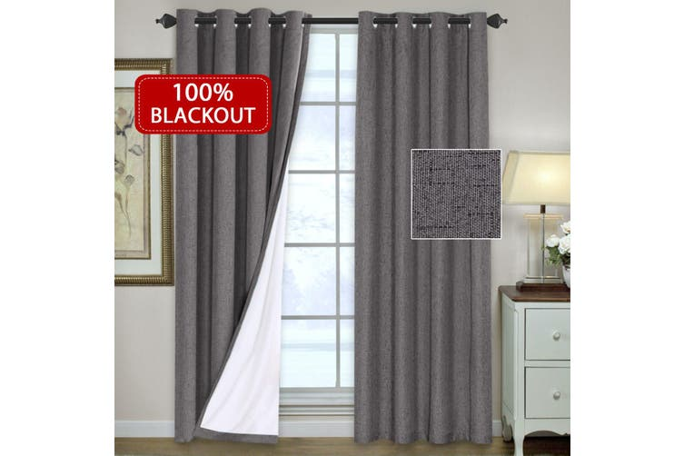 1 Pair 100% Blockout Curtains Pair Linen Look Curtains Luxury Thick Full Blackout Curtains & Drapes for Bedroom/Living Room, Eyelet Top, 4 Sizes, Grey
