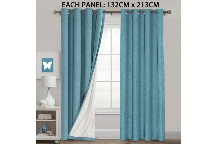 1 Pair 100% Blackout Curtains and Draperies for Bedroom Thermal Insulated Textured Rich Linen Look Blockout Curtains Eyelet, Teal Color