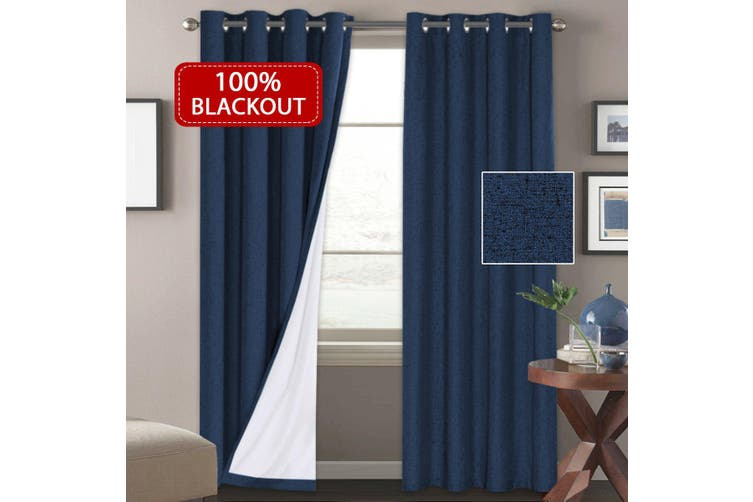 1 Pair 100% Blackout Curtains for Bedroom, 2x Blockout Curtains Pair Waterproof Linen Like Textured Indoor Curtains and Draperies Eyelet Top, Navy