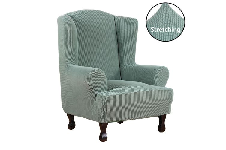 Super Stretch Wing Chair Covers, Grey Wingback Chair Slipcover