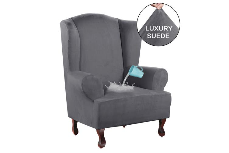 Suede Fabric Wing Chair Sofa Slipcover, Grey Wingback Chair Slipcover