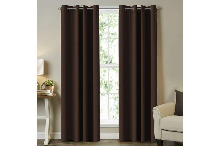 2x Blockout Curtains for Bedroom / Living Room Blackout Curtain Draperies Thick Room Darkening Eyelet Drapes, 1 Pair, Chocolate Brown
