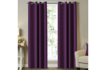 2x Blockout Curtains Blackout Curtain Draperies for Bedroom / Living Room Eyelets Top Window Drapes, 1 Pair, Plum Purple, Multi Sizes