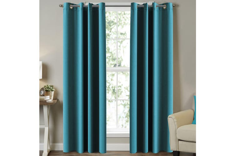 Blockout Curtains Pair for Bedroom (2 Panels) Window Treatment Drapes Eyelet Blackout Curtains for Living Room, Turquoise Blue