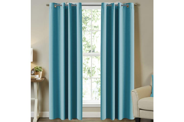 Window Treatment Blockout Curtains Pair Eyelet for Bedroom Blackout Curtains Draperies for Living Room, Aqua, Multi Sizes