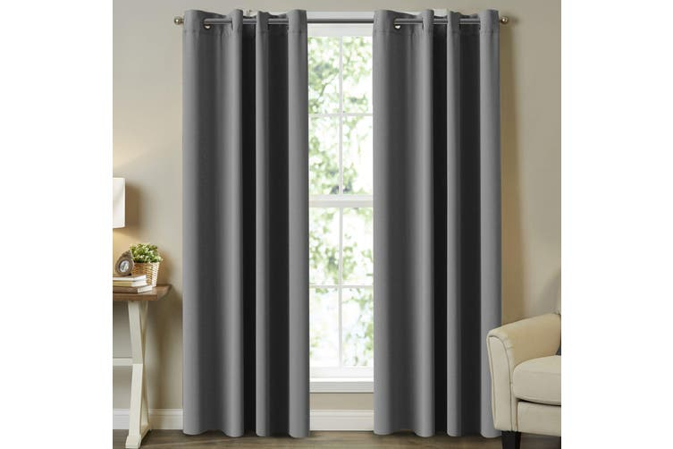 Blackout Pair Curtains Bedroom Grey Color Window Treatment Draperies for Living Room Eyelet Blockout Grey Curtains (2 Panels) 4 Sizes