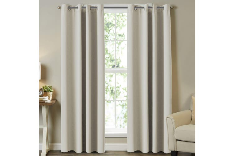 2x Curtains Pair Eyelet Blockout Window Treatment Curtains Draperies for Living Room/Bedroom, Elegant Beige