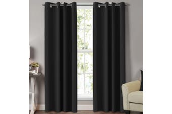 2x Blackout Curtains for Bedroom / Living Room Blockout Eyelet Curtain Draperies for Windows (Black, Multi Sizes)