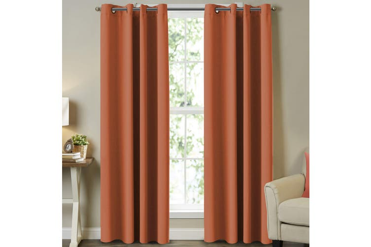 Blockout Kids Room Curtains Pair for Bedroom (2 Panels) Window Treatment Eyelet Blackout Curtains Draperies, Burnt Orange
