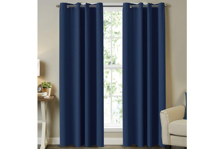 Blockout Curtains Pair for Bedroom (2 Panels) Window Treatment Drapes Eyelet Blackout Curtains for Living Room, Navy Blue