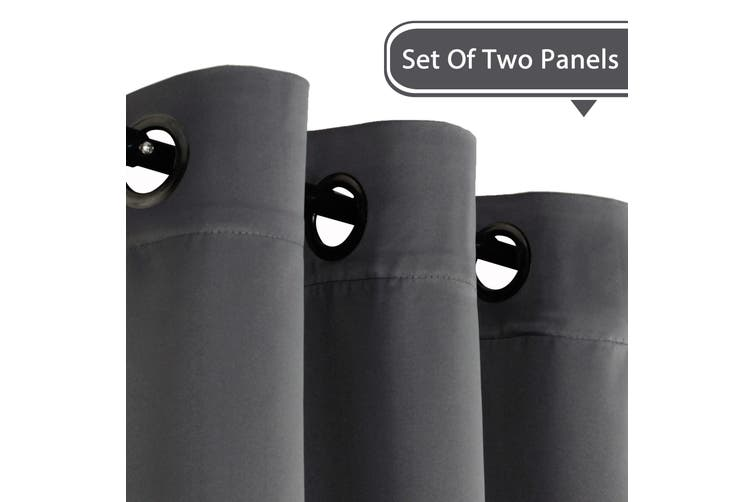 2x Blockout Grey Curtains Bedroom Blackout Curtains Pair Eyelet Window Treatment Draperies for Living Room, Charcoal Grey