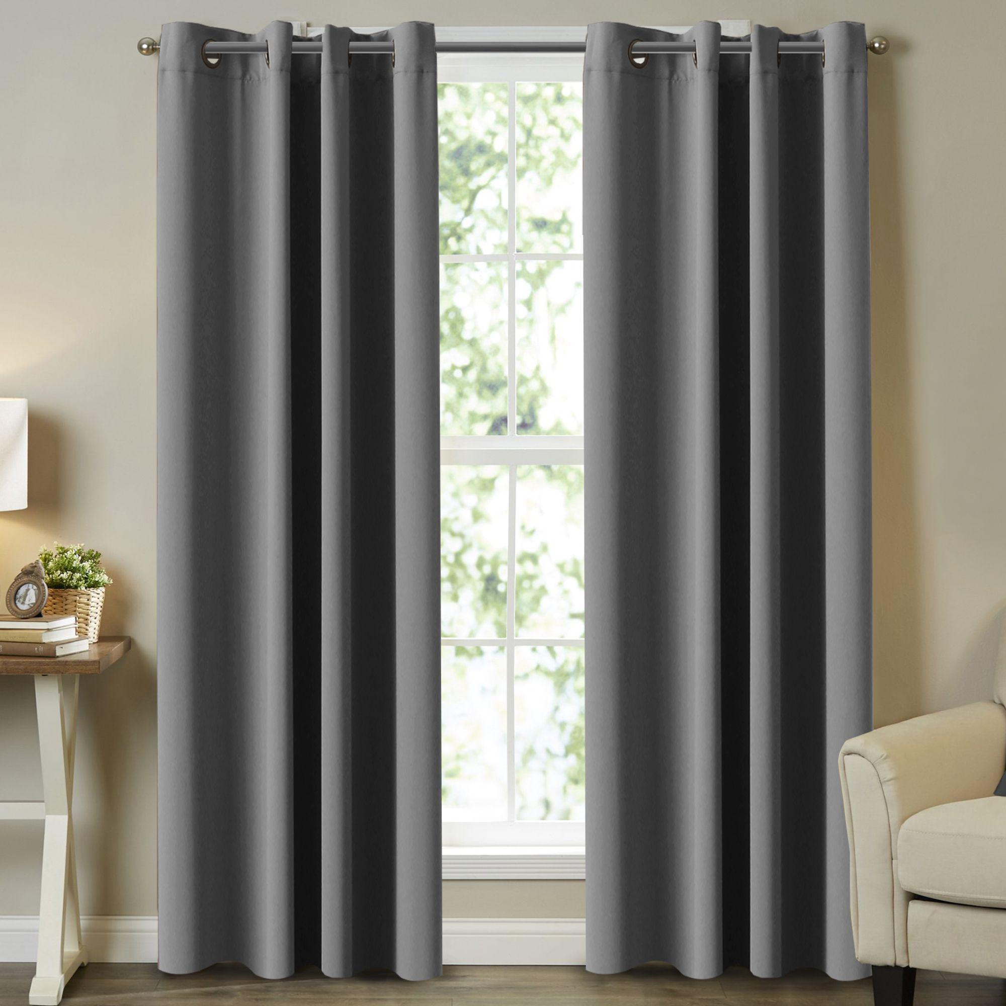 Blackout Pair Curtains Bedroom Grey Color Window Treatment Draperies For Living Room Eyelet Blockout Grey Curtains 2 Panels 4 Sizes Matt Blatt