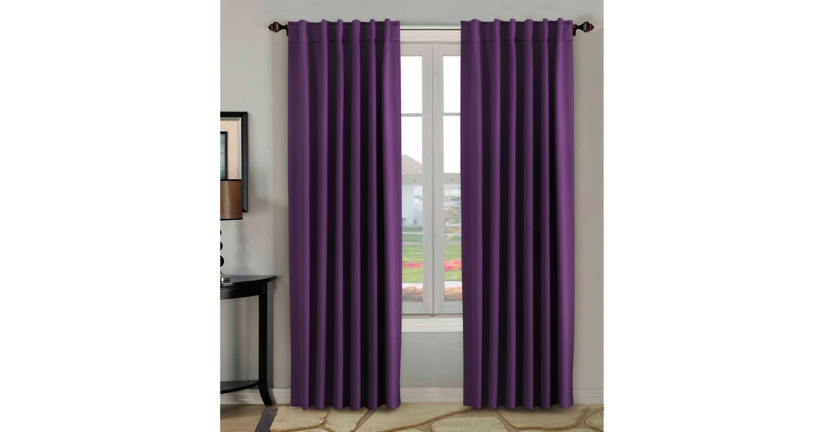 2 Panels Pair Curtains Blockout For Living Room Girl S Bedroom Rod Pocket Back Tab Top Blackout Window Curtain Drapes Plum Purple Matt Blatt